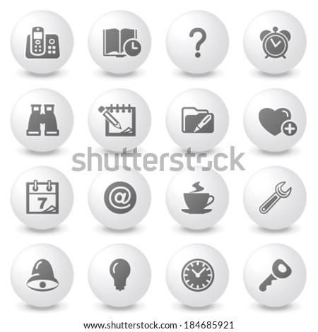 Organizer white icons on gray buttons. - stock vector