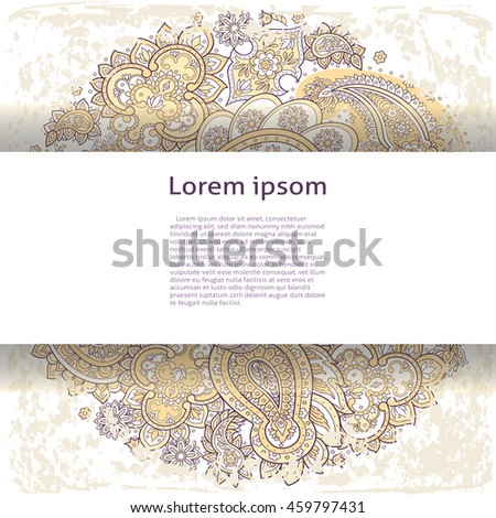 Orient style vector template for your text with paisley ornament.