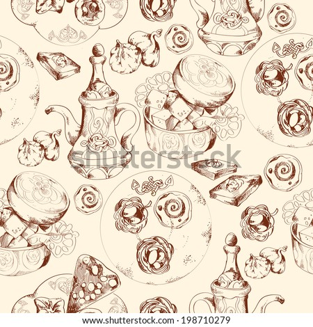 Oriental arabic traditional asian sweet dessert doodle seamless pattern vector illustration.