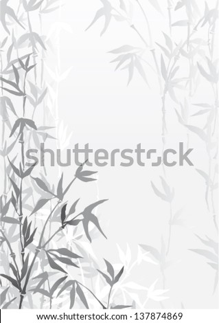 Oriental  bamboo forest vector wallpaper - stock vector