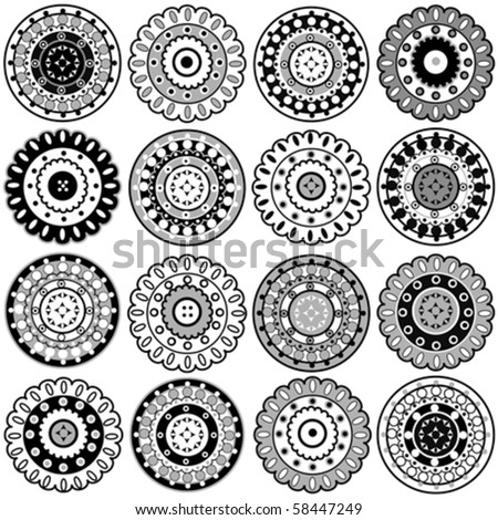 Oriental black elements - stock vector