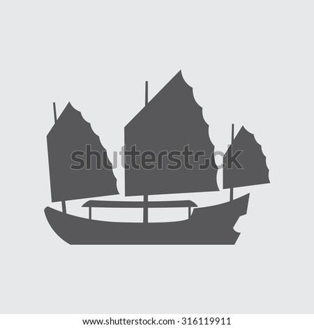 Oriental Boat Icon - stock vector