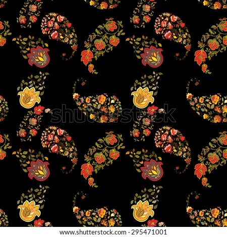Oriental boho paisley seamless pattern with black background.  Floral motifs. - stock vector