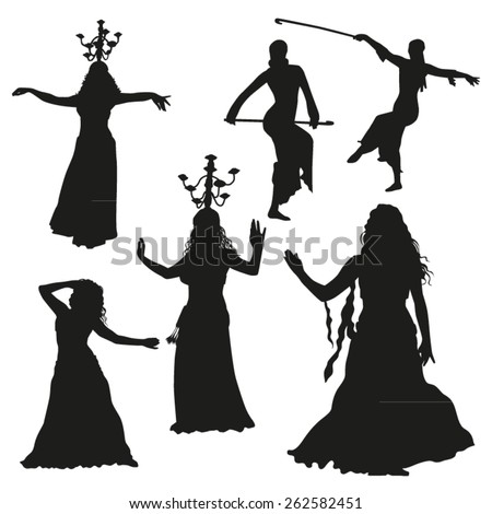 Oriental dance silhouettes - stock vector