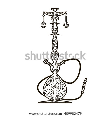 Oriental design line ornament hookah vector illustration - stock vector