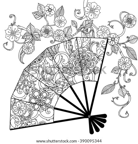 japanese christmas coloring pages - oriental fan decorated floral patterns zentangle stock