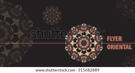 Oriental Flayer template design in brown color. Abstract Retro Ornate Mandala Background for greeting card, Brochure, Card or Invitation with Arabic, Indian, Ottoman, Asian motifs.Flyer artwork design - stock vector