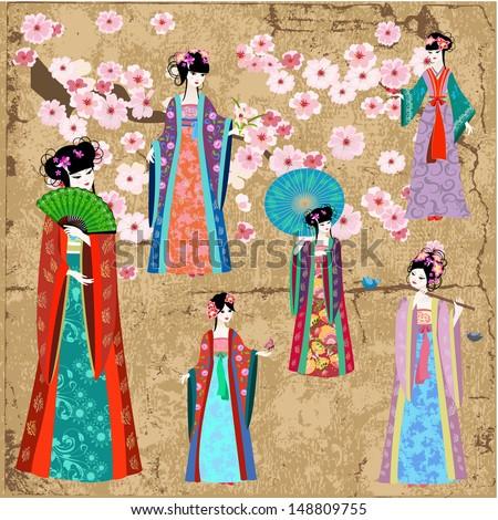 Oriental girl in retro costume - stock vector