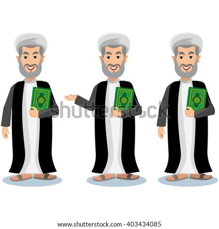 Oriental man in turban with quran - stock vector