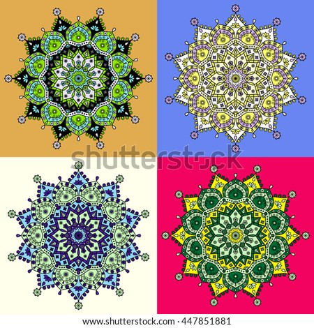 Oriental mandala pattern. Set of four colored versions in palette of green, yellow, blue, purple & white. - stock vector