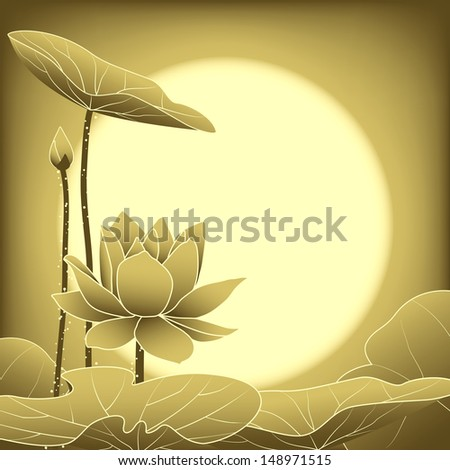 Oriental Mid Autumn Festival Lotus Flower Wallpaper - stock vector