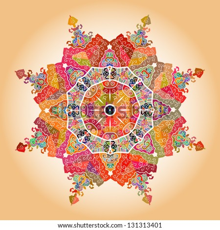Oriental multicolored  8-corner Mandala motif round lase pattern on the yellow background, like snowflake or mehndi paint of orange color - stock vector