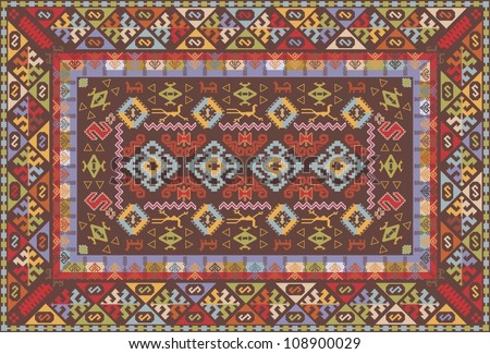 Oriental nomadic type carpet design - stock vector