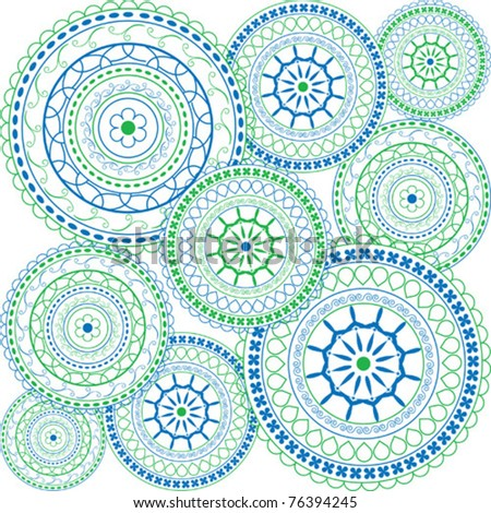Oriental ornaments in blue and green  - stock vector