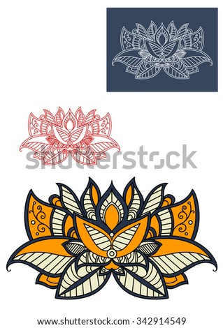 Oriental paisley flower with openwork petals and leaves, adorned by gray and yellow decorative elements, for fabric or carpet pattern design - stock vector