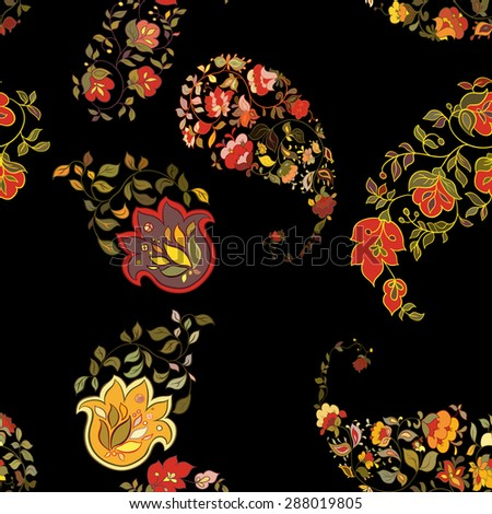 Oriental  paisley seamless pattern with black background.  Floral background. - stock vector