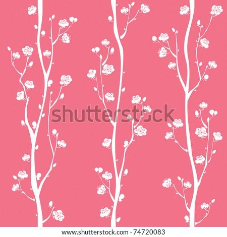 Oriental plum blossom seamless pattern - stock vector