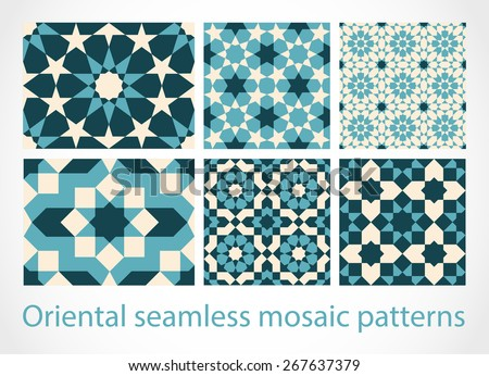 Oriental seamless mosaic patterns  - stock vector
