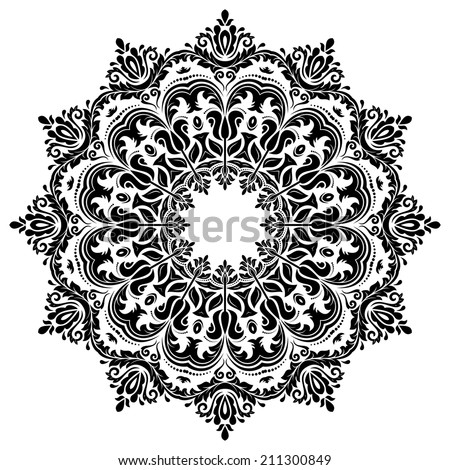 Oriental seamless vector pattern with damask, arabesque and floral elements. Abstract background - stock vector