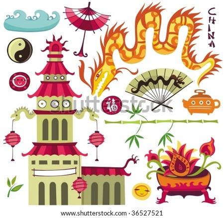 Oriental set of design elements - stock vector