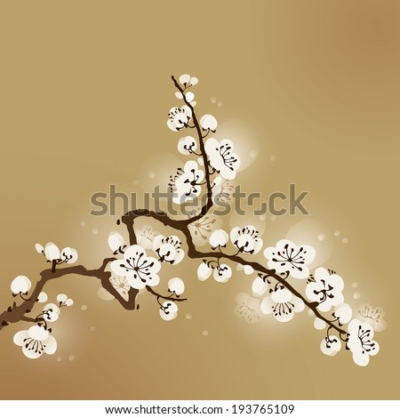 oriental style painting, plum blossom - stock vector