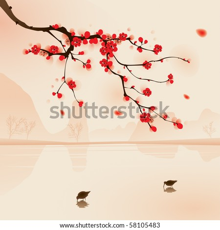 Oriental style painting, plum blossom above the water with birds drinking water in Spring. Vectorized brush painting. - stock vector