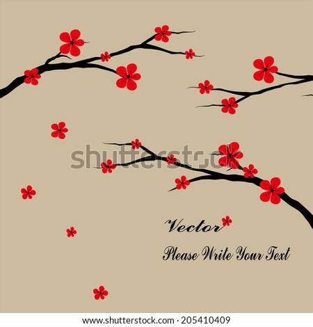 Oriental style painting, plum blossom in spring - stock vector