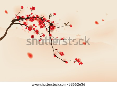 oriental style painting, plum blossom in spring.   Birds resting on the branches of plum blossom tree with hills background. Vectorized brush painting. - stock vector
