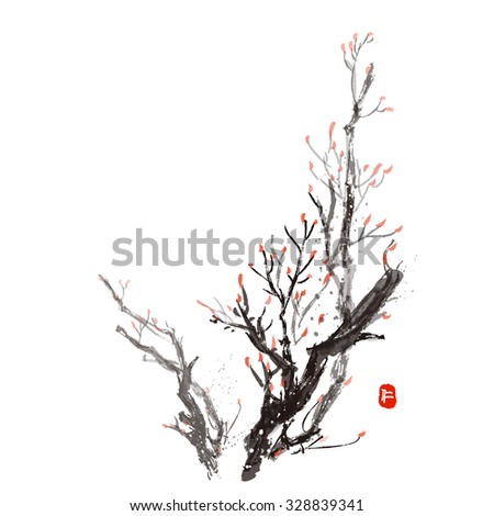 "Oriental style painting, plum blossom in spring. Hieroglyph ""Kindness """