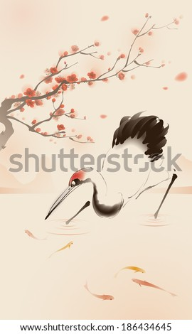 Oriental style painting, Red-crowned Crane - stock vector