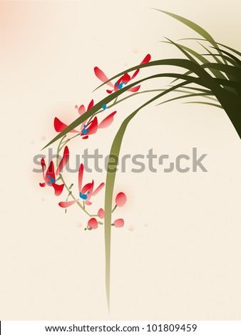 oriental style painting, red orchid flower - stock vector