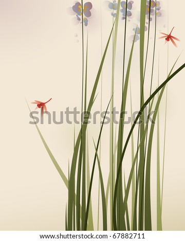 oriental style painting, tall grasses and flowers - stock vector