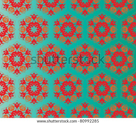 Oriental style seamless pattern with red and orange flowers on a gradient green background - stock vector
