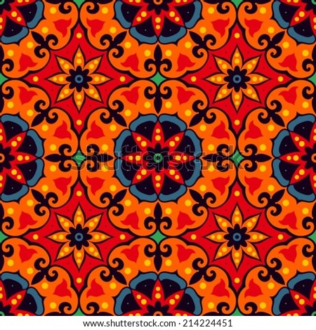 Oriental traditional floral ornament, Italian seamless pattern, tile design, vector illustration - stock vector