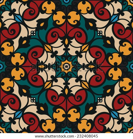 Oriental traditional floral ornament, Italian seamless pattern, tile or stained glass window design, vector illustration - stock vector