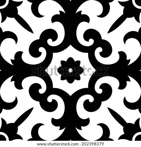 Oriental traditional floral ornament, Moroccan seamless pattern, tile design, vector illustration - stock vector
