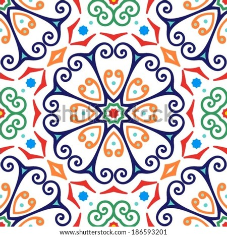 Oriental traditional ornament, Mediterranean seamless pattern, tile design, vector illustration - stock vector