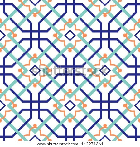 Oriental traditional ornament, Moroccan seamless pattern, tile design, vector illustration - stock vector