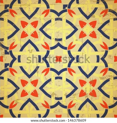 Oriental traditional ornament, Moroccan seamless pattern with flower, tile design, vector illustration - stock vector