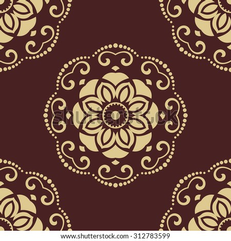 Oriental vector classic colored pattern. Seamless abstract brown and golden background