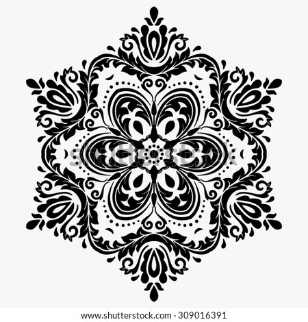 Oriental vector classic pattern. Seamless abstract background. Black and white ornament - stock vector