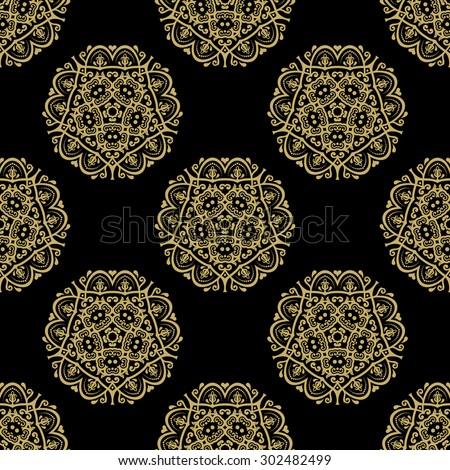Oriental vector fine classic black and golden pattern. Seamless abstract background - stock vector