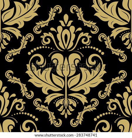 Oriental vector fine texture with golden damask, arabesque and floral elements. Seamless abstract background