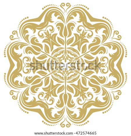 Oriental vector pattern with arabesques and floral elements. Traditional classic ornament