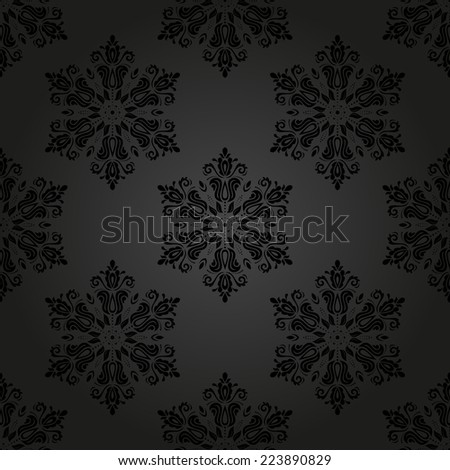 Oriental vector pattern with damask, arabesque and floral elements. Seamless abstract background with traditional ornament - stock vector