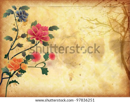 Oriental Vintage Background - stock vector