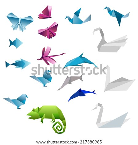 Origami abstract background. Paper is transformed to animals.