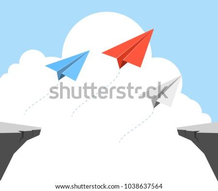 Origami Airplane Paper Plane Symbol Leadership Stock Vector