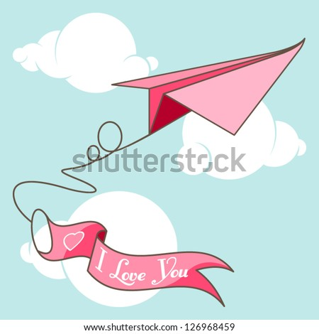 "Origami airplane with banner ""I Love You"" - stock vector"