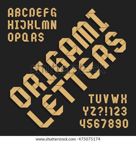 Origami Alphabet Font Textured Paper Type Vector De Stock475075174